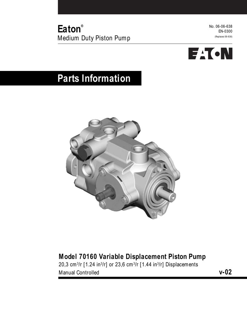 Eaton Parts Information Model 70160 Variable Displacement Piston