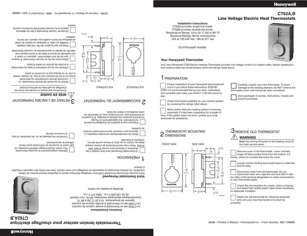 Honeywell CT40B40/U Thermostat Manual for Honeywell CT40B40/U ...