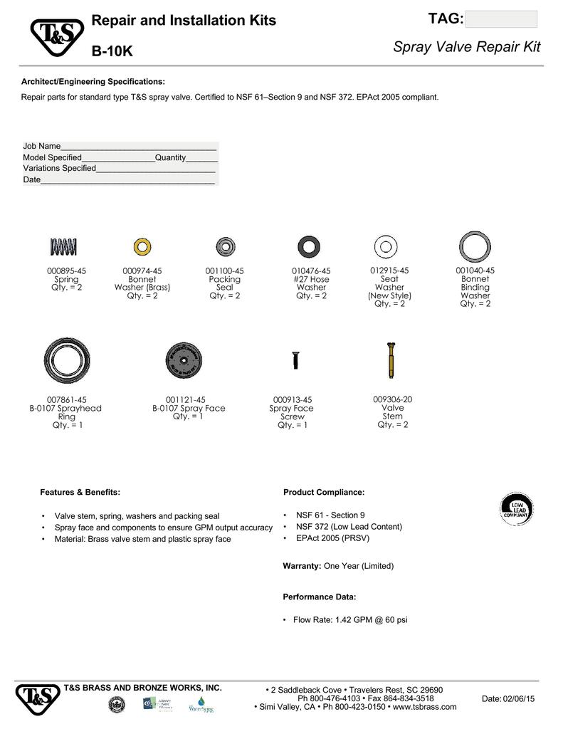 TAG: Repair and Installation Kits B-10K | manualzz com