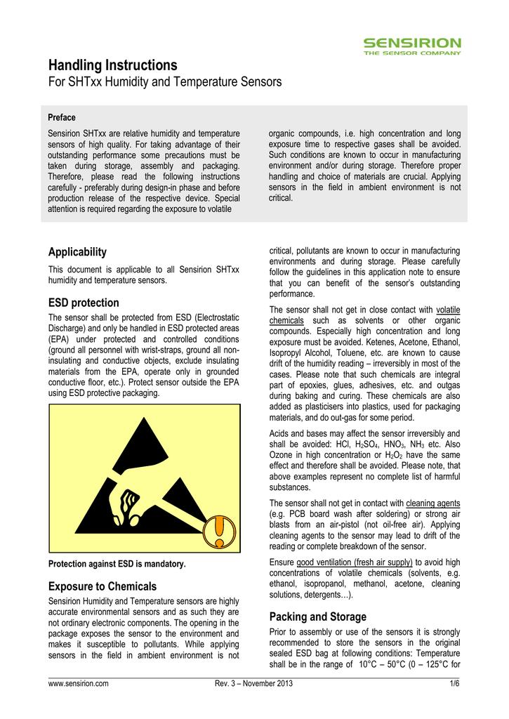 Sensirion Humidity Handling Instructions V3 D1 Manualzz