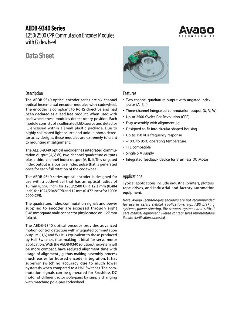 Data Sheet AEDB-9340 Series 1250/2500 CPR Commutation