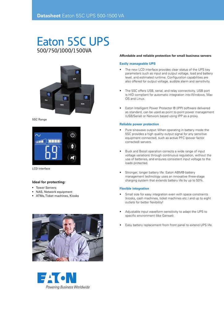 Eaton 5SC UPS 500/750/1000/1500VA Datasheet | manualzz com