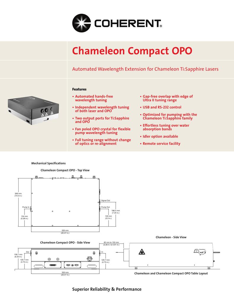 Chameleon OPO Data Sheet   manualzz com