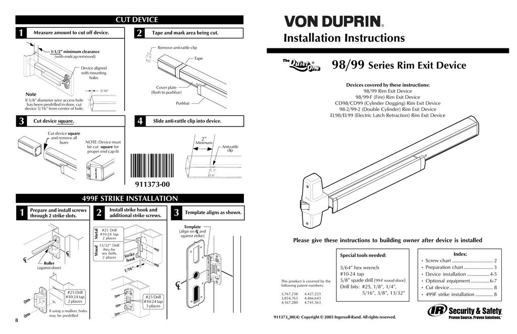 Series 98/99 Device Installation Series 98/99 Pushbar Installation  Instructions   Manualzz   Von Duprin Ps873 Wiring Diagram      Manualzz