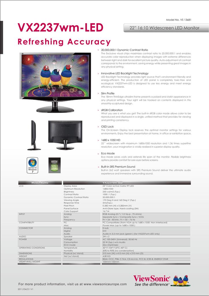 "VX2237wm-LED Refreshing Accuracy 22"" 16:10 Widescreen LED"