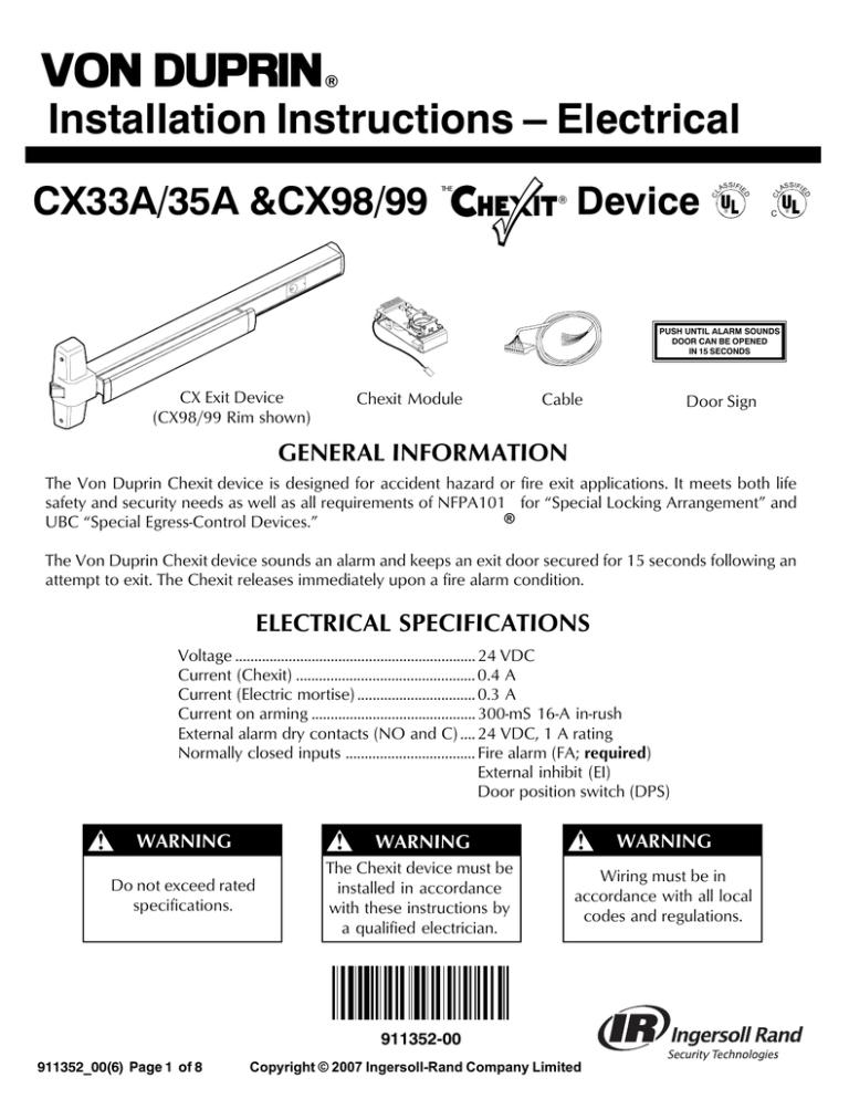Series CX33A/35A Electrical Installation CX33A/35A Chexit Device  Installation Instructions   Manualzz   Von Duprin Ps873 Wiring Diagram      Manualzz