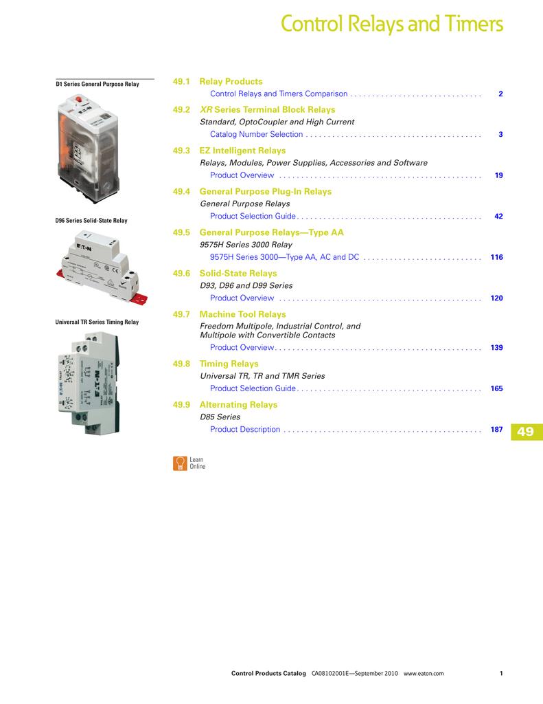 240VAC 50//60Hz Series A2 UNUSED NOS Eaton D5PR2B DPDT Relay 15 Amp Coil