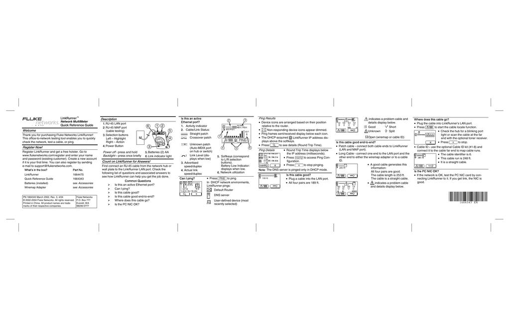 LinkRunner Network MultiMeter Quick Reference Guide (англ