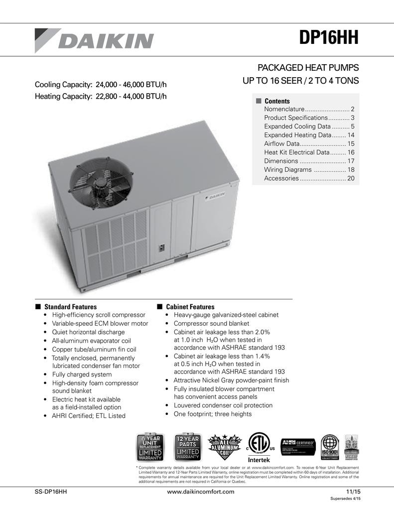 Dp16hh Packaged Heat Pumps Ecm Blower Motor Wiring Diagram