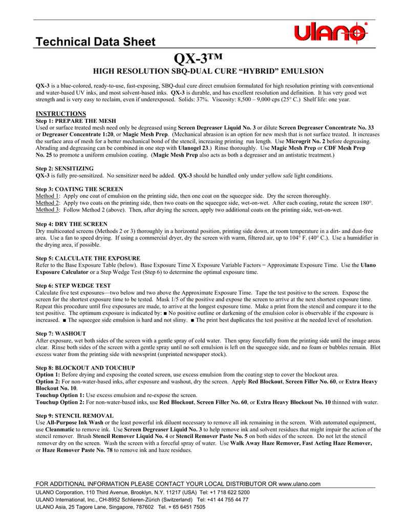 "QX-3™ Technical Data Sheet HIGH RESOLUTION SBQ-DUAL CURE ""HYBRID"
