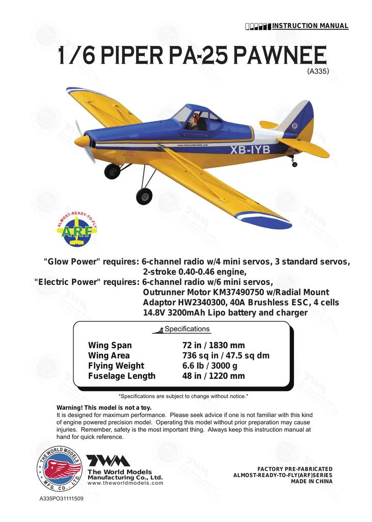1/6 PIPER PA-25 PAWNEE | manualzz.com on
