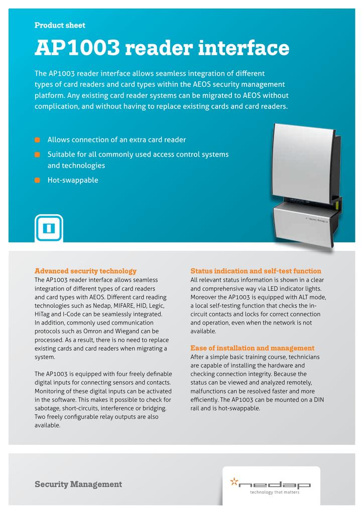 AP1003 reader interface product sheet | manualzz com