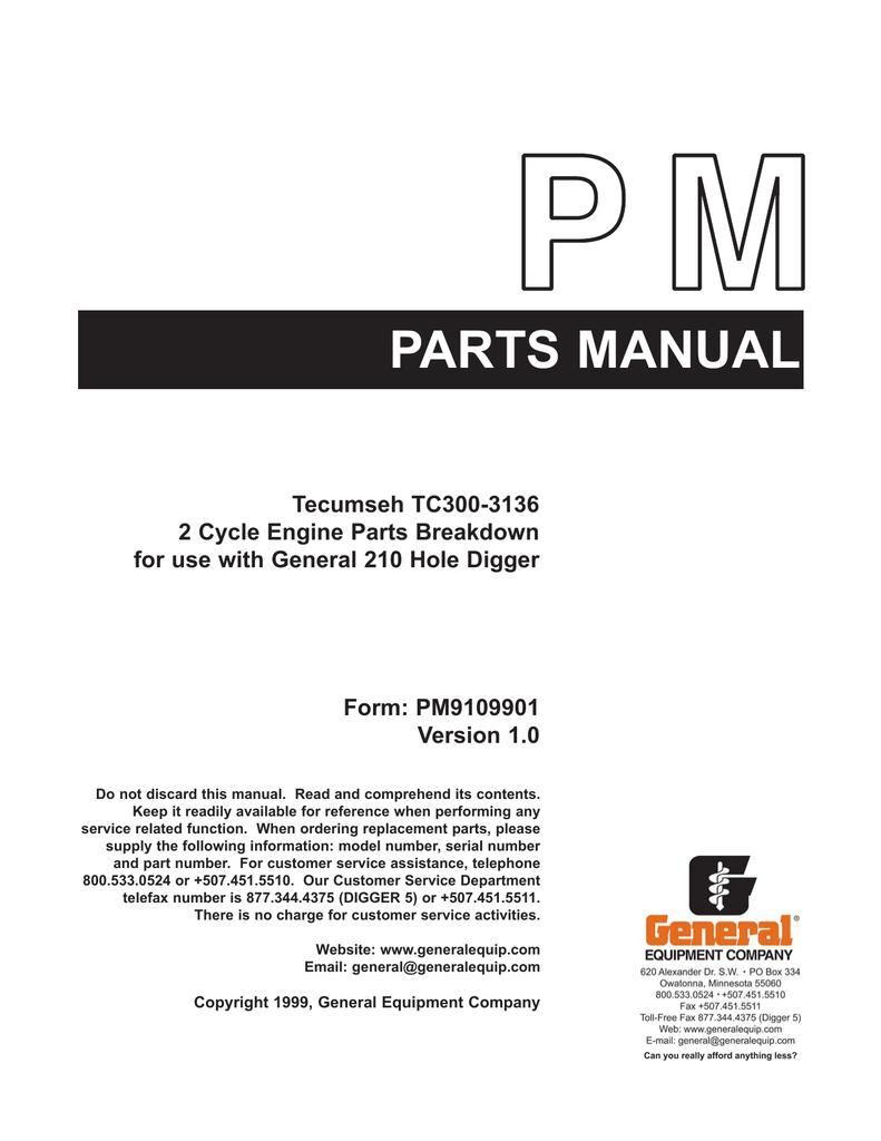 Tecumseh Tc300 3136 2 Cycle Engine Parts Breakdown Parts Manualzz