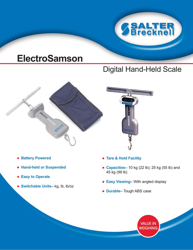 45kg//99lb Capacity Salter Brecknell ElectroSamson Hand Held Digital Scale