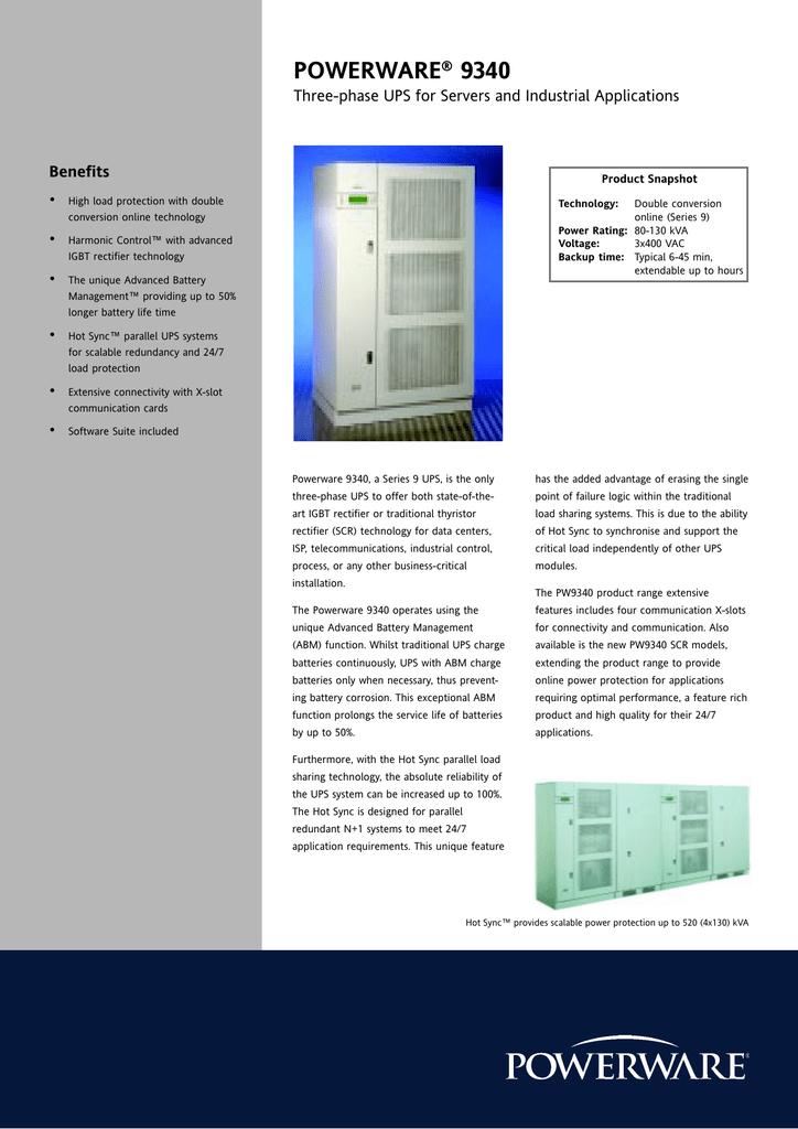 POWERWARE 9340 Benefits Three-phase UPS for Servers and