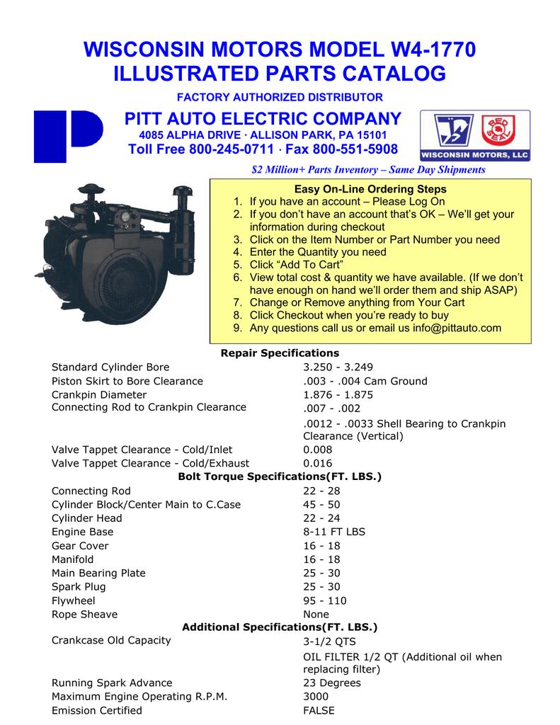Wisconsin W4 1770 engines parts manual | manualzz.com on