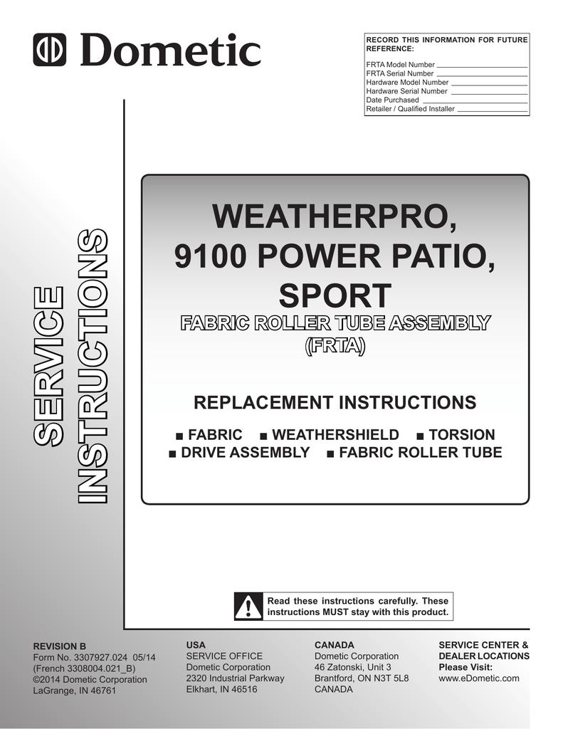 Dometic WeatherPro Replacement Manual 3307927 024 | manualzz com