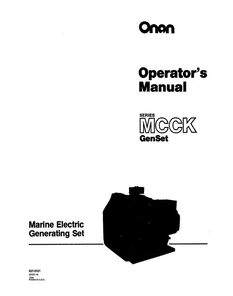 Onan MCCK Marine Genset Manual | manualzz.com Onan Genset Wiring Diagram Low Coolant on