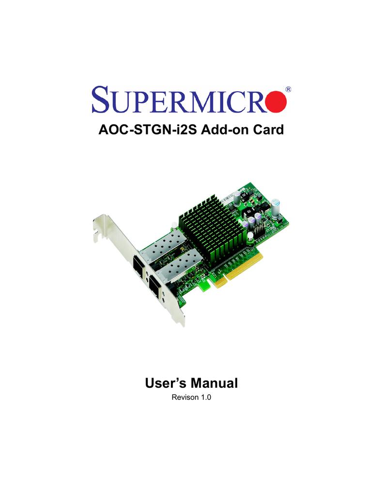 Supermicro AOC-STGN-i2S Adapter : Manual | manualzz com