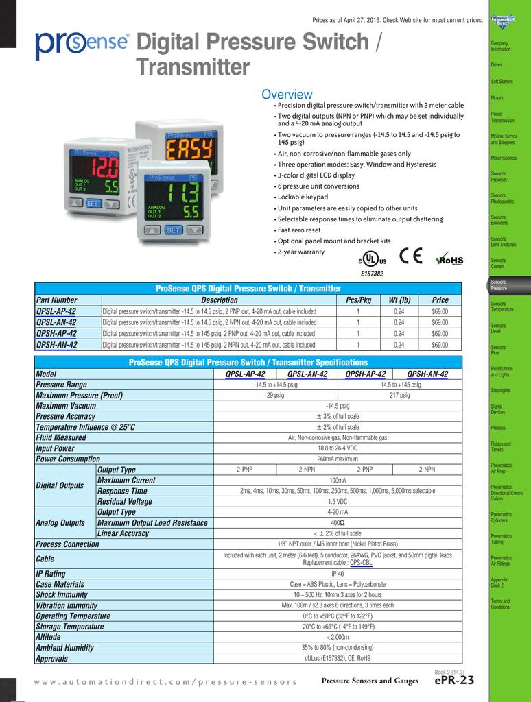 Digital Pressure Switches/Pressure Transmitters Overview | manualzz.com