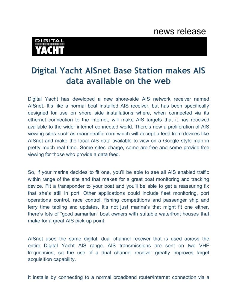 Digital Yacht AISnet Base Station Makes AIS Data Available