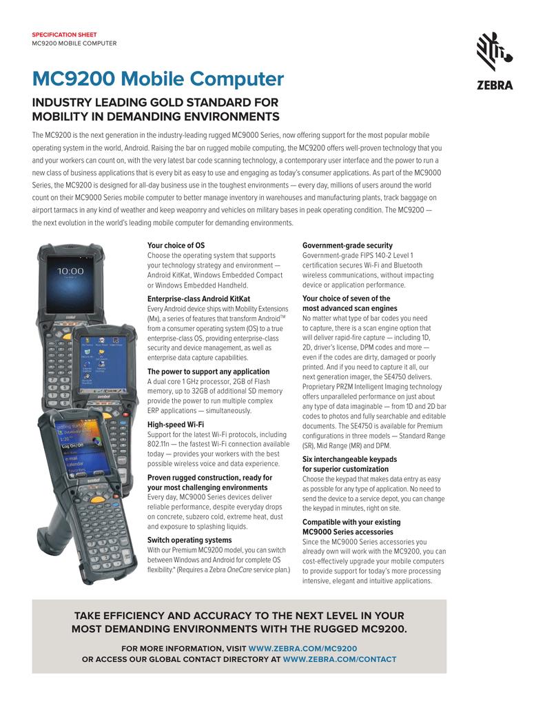 Datenblattt Motorola Mobile Computer MC9200 | manualzz com