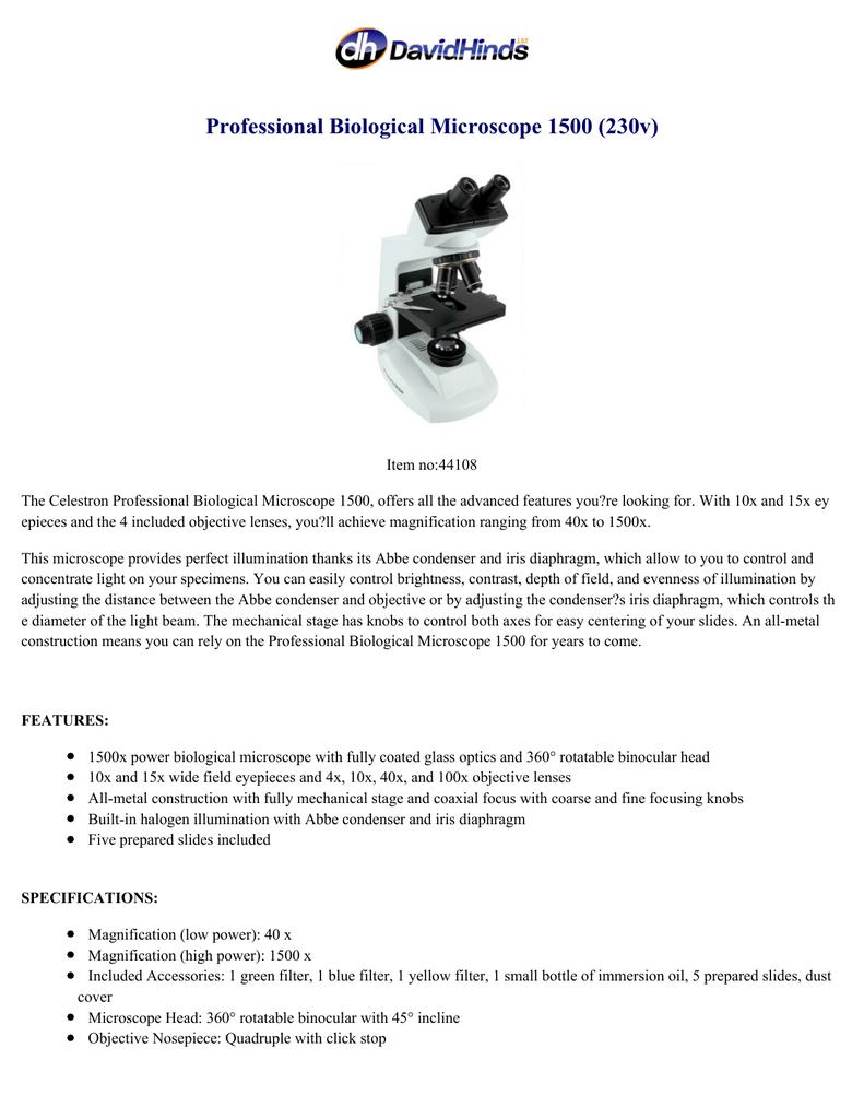 Professional Biological Microscope 1500 (230v) | manualzz com