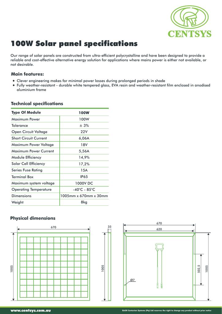 100 W Solar Panel Specifications Sheet Manualzz