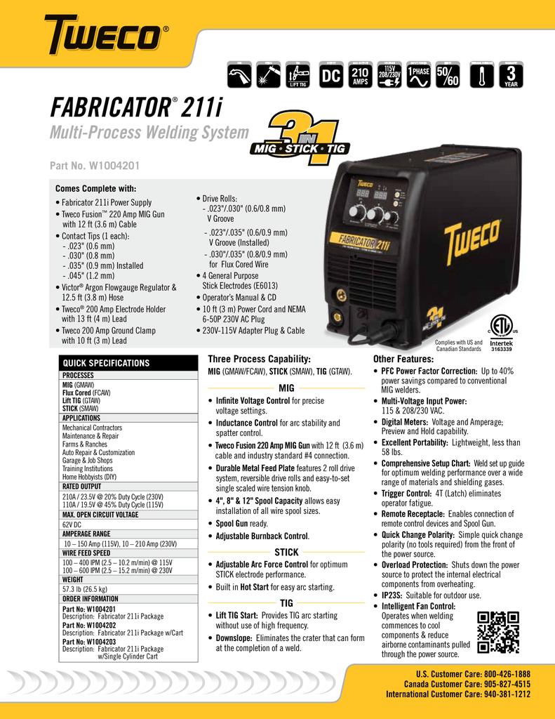 Tweco Fabricator 211i Technical Sales Brochure 84 Manualzz