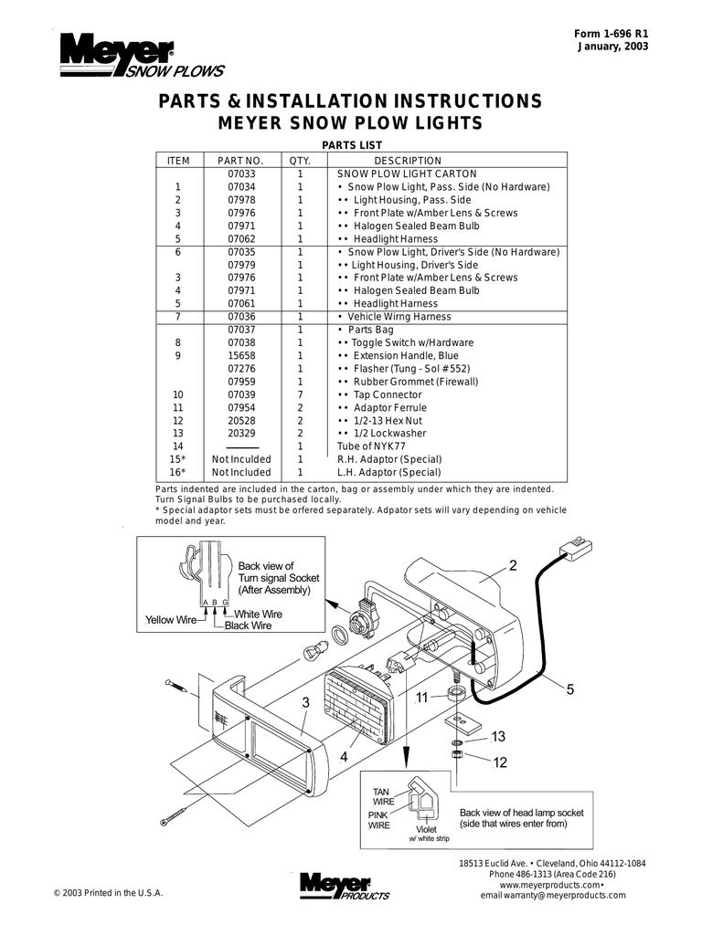 the original meyer instructions for light kit 07033
