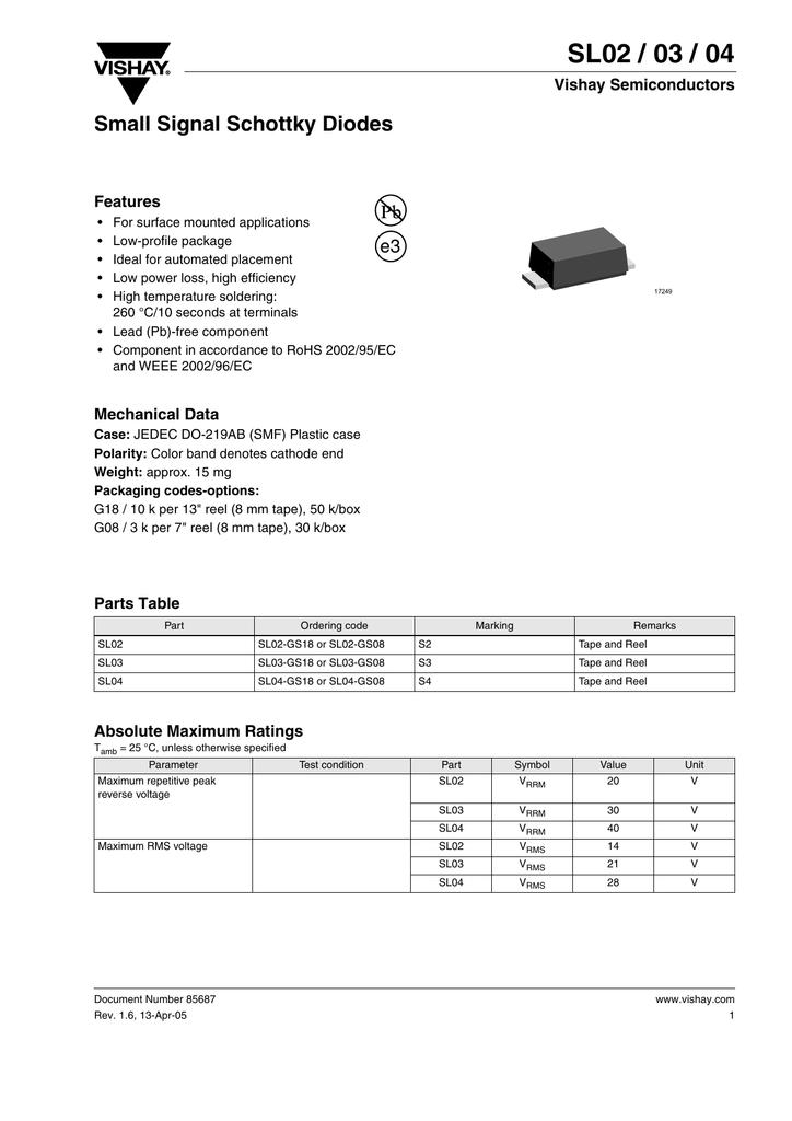 SL02 / 03 / 04 Small Signal Schottky Diodes e3 Vishay