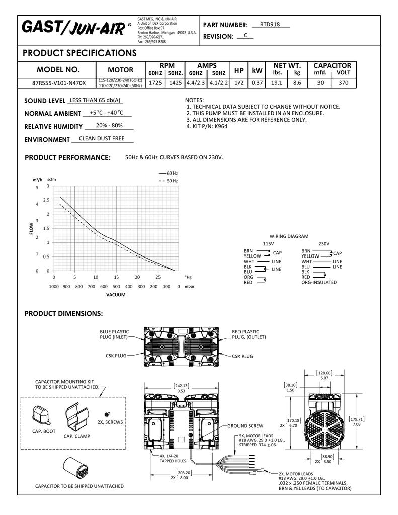 gast motor wiring diagram wiring diagram Motor Run Capacitor Wiring Diagram