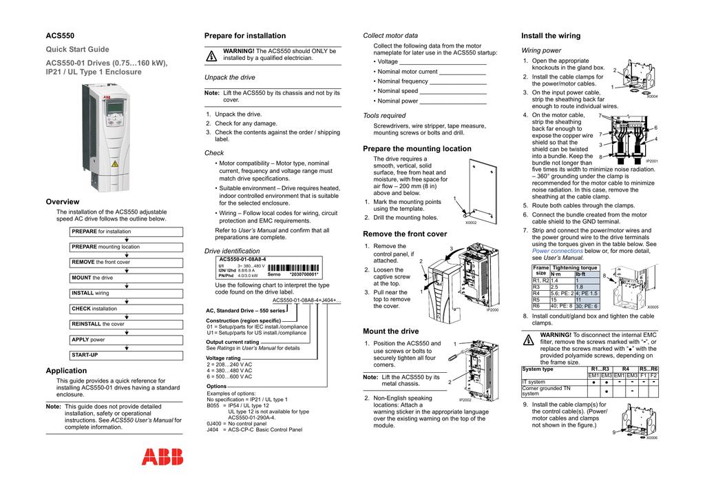 ABB ACS550 Quick Start Guide | manualzz.com on