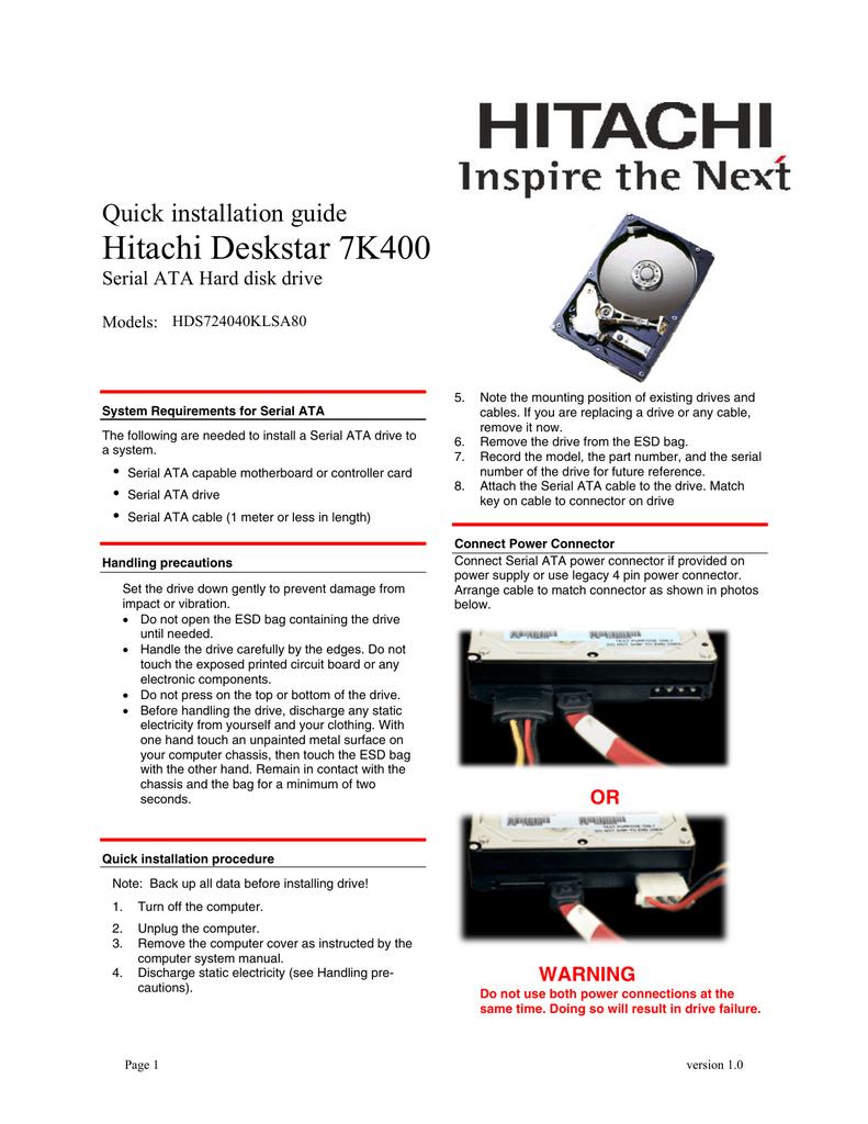 Deskstar 7K400 Serial ATA Quick Installation Guide V10