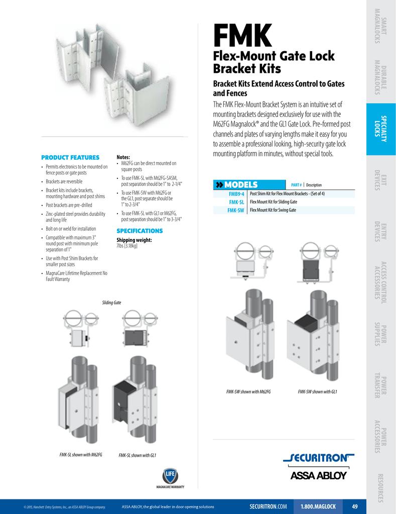 Sliding Gate Securitron FMK-SL Flex-Mount Bracket Kit