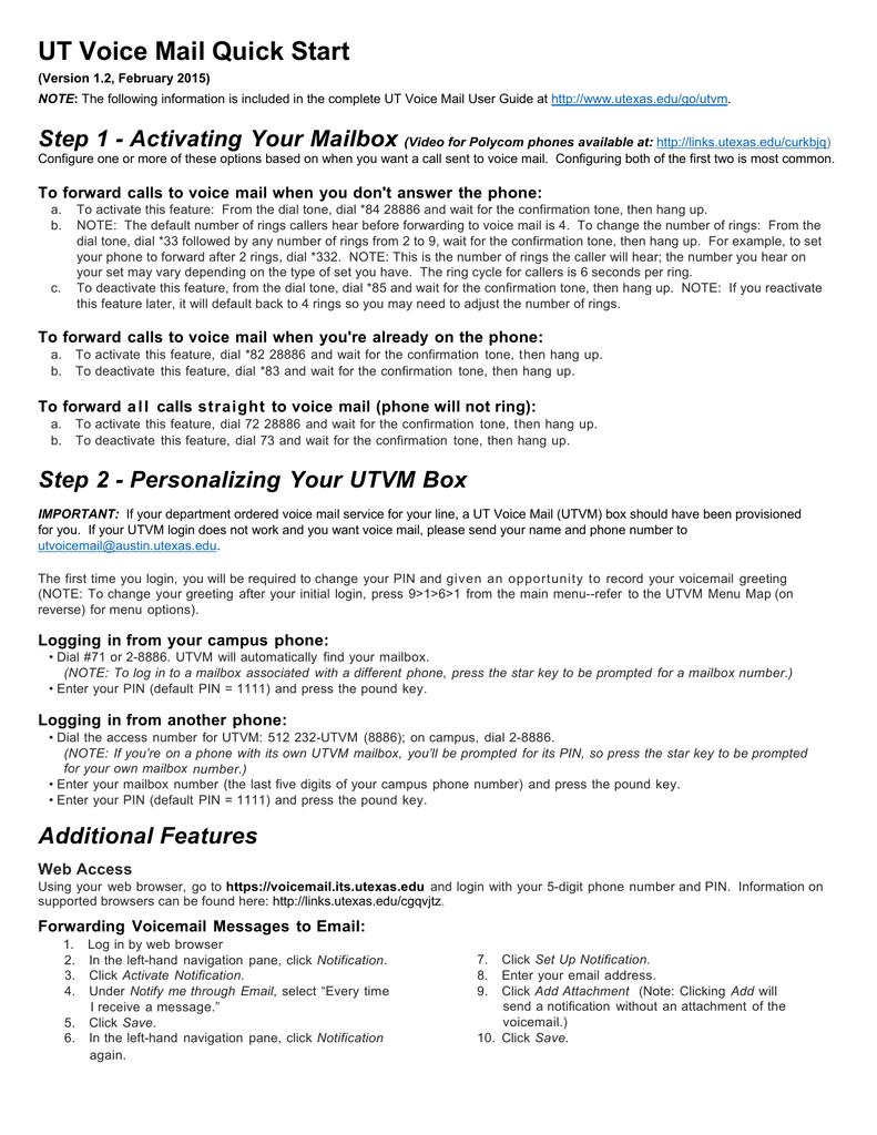 Ut Voice Mail Guide 20150219 Manualzz