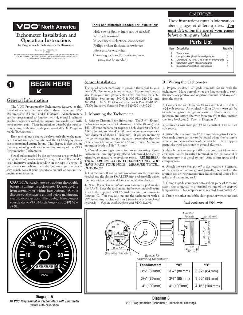 vdo cht gauge wiring diagram vdo tachometer 0 515 012 037 manualzz  vdo tachometer 0 515 012 037 manualzz