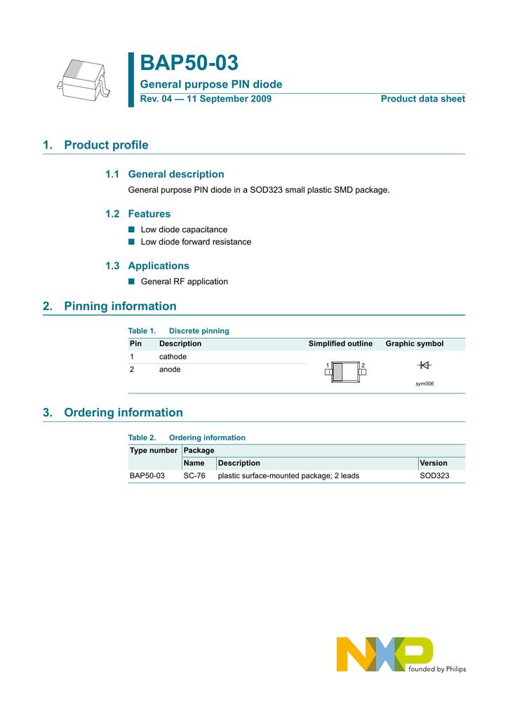 Bap50 03 1 Product Profile General Purpose Pin Diode Manualzz