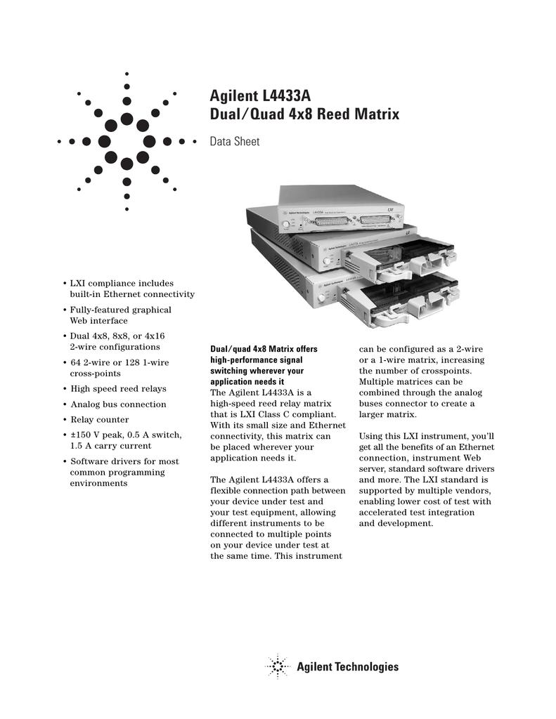 Agilent L4433a Dual Quad 4x8 Reed Matrix Data Sheet Relay Switching Time
