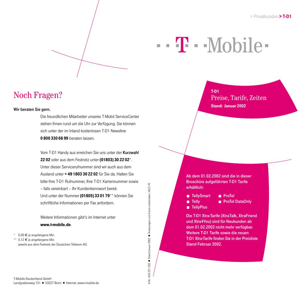 Weitere Informationen Zum Thema Preisliste T Mobile T D1