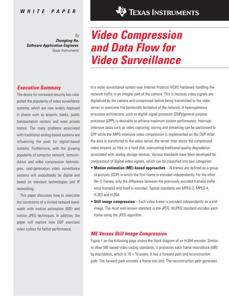 Texas Instruments Video Compression And Data Flow For H 264 Decoder Block Diagram Surveillance