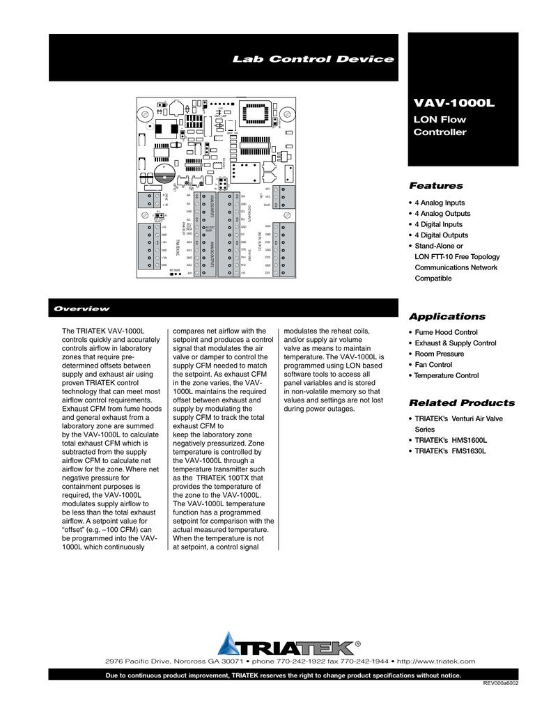 VAV-1000L_Data Sheet | manualzz com