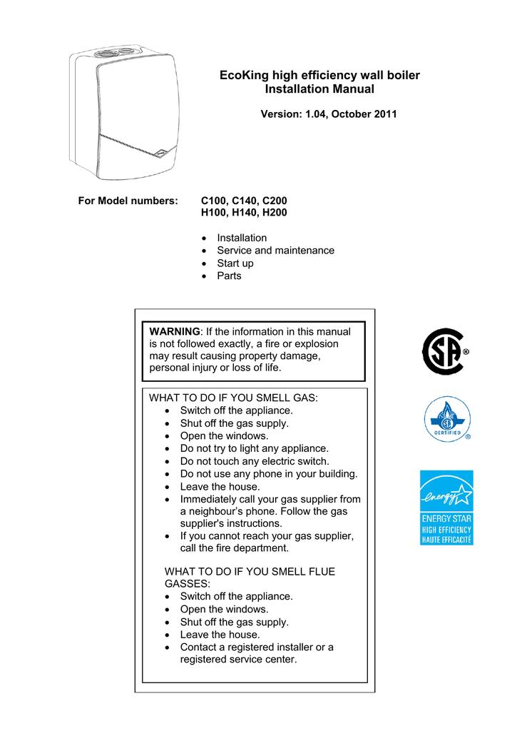 EcoKing high efficiency wall boiler Installation Manual   manualzz.com