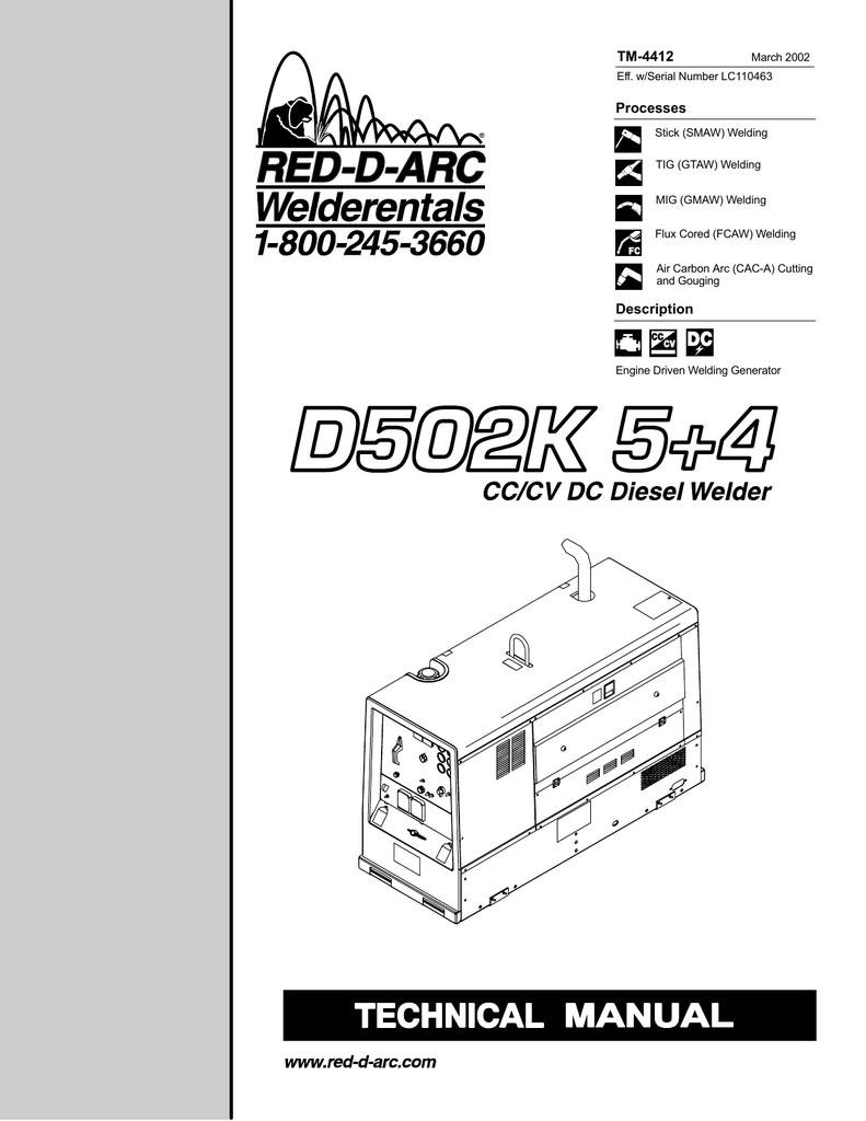 D502k 5 4 Technical Manual Welding Generator Diagram
