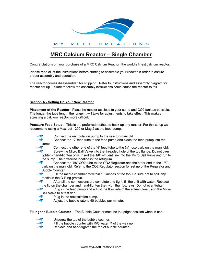 MRC Calcium Reactor – Single Chamber | manualzz com
