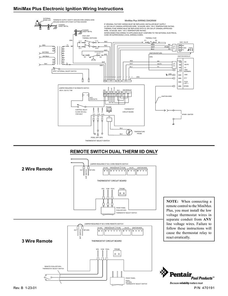 [DIAGRAM_38IS]  MiniMax Pentair MiniMax Plus Electronic Ignition : instruction des  branchements (Anglais) | Manualzz | Wiring Diagram Pentair |  | manualzz