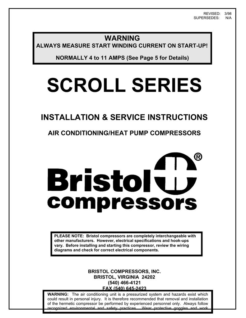 Bristol Compressor Crankcase Heater Wiring Solutions Diagram Scroll Compressors Manualzz Com You Premium Hvac