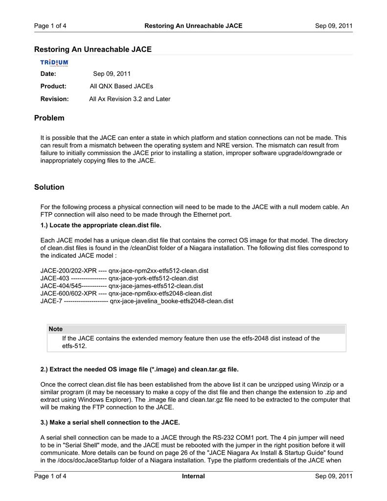 RestoringAnUnreachableJACE 6 | manualzz com