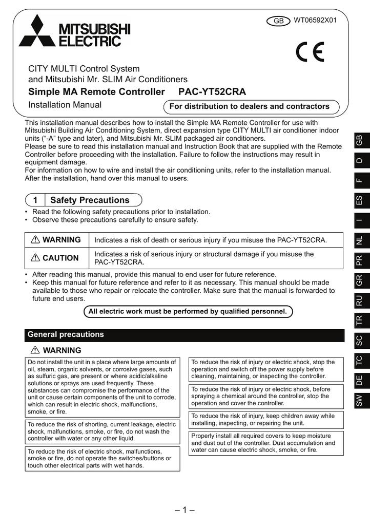 Mitsubishi Electric PAC-YT52CRA Installation Manual Eng