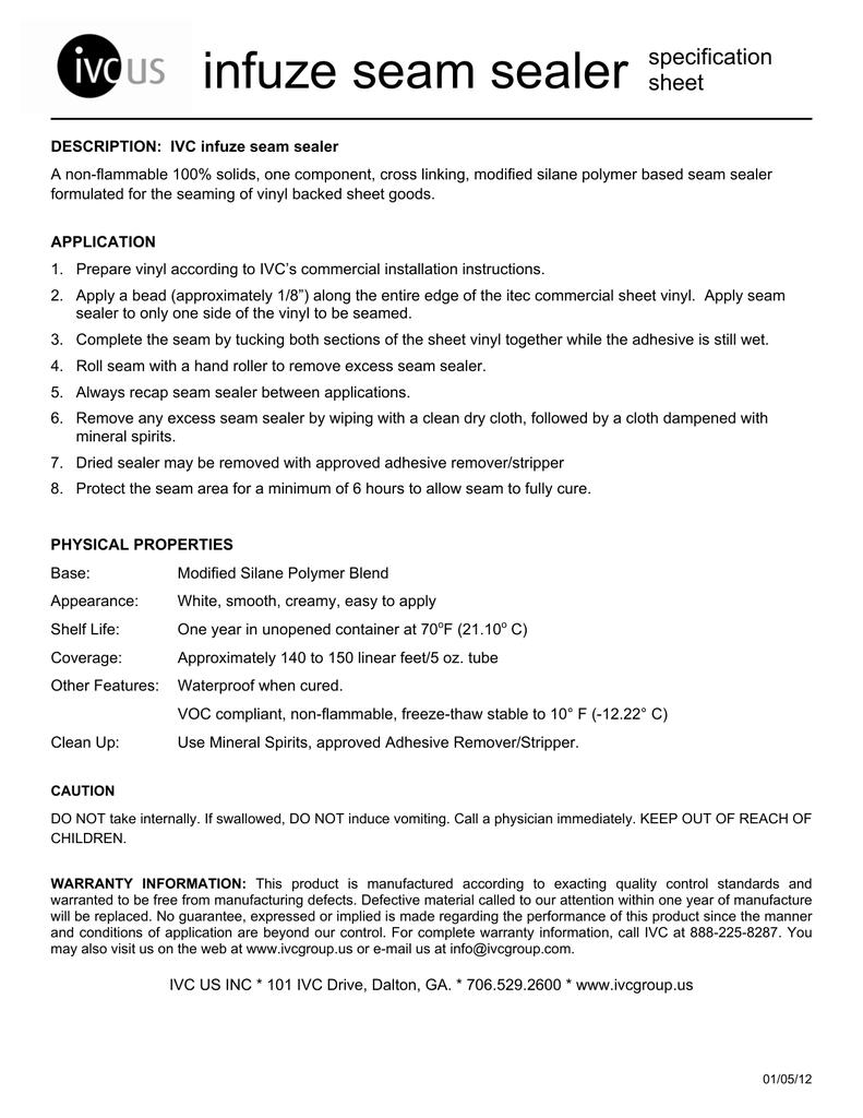 IVC Infuze Seam Sealer Spec MSDS | manualzz com